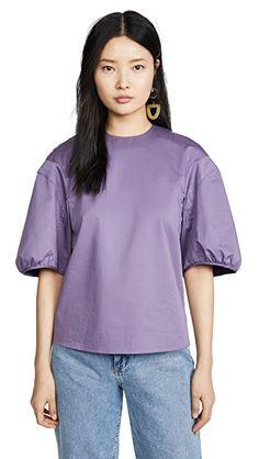 Tibi Balloon Sleeve Top | SHOPBOP Moda China, China Fashion, Poplin, Pretty Dresses, Casual Chic, Balloons, Tees, Cotton, Puff Sleeves