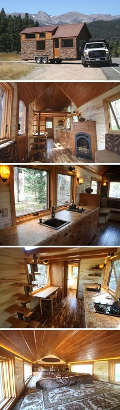 The Stone Cottage tiny house from SimBLISSity. The 204 sq ft home has a kitchen, bathroom, living room with a fireplace, and a loft bedroom.