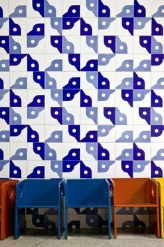 Athos Bulcão; Glazed Ceramic Tiles for Kindergarten SQS 316 in Brasília, c1960.