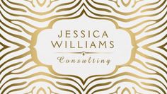 Modern Gold and White Zebra Print Swirly Scalloped Frame Business Cards