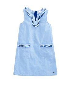 Girls Fringe Trim Shift Dress
