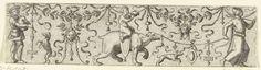 Anonymous | Fries met links een doedelzakspeler, Anonymous, c. 1500 - c. 1600 | Links een doedelzakspeler met een dansende hond en rechts een man met een beer waarop een naakt jongetje zit. Gespikkelde achtergrond.