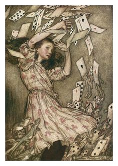 the climax of Alice in Wonderland by Arthur Rackham. If you want to know where most fantasy art of the Century comes from, look to Arthur Rackham, most particularly Alan Lee and Brian Froud Arthur Rackham, Lewis Carroll, Art And Illustration, Book Illustrations, We All Mad Here, Alice In Wonderland Illustrations, Chesire Cat, Adventures In Wonderland, Wonderland Alice