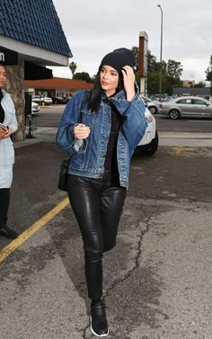 Kylie Jenner wearing Hermes Kelly Bag, Puma x Stampd Blaze of Glory Strap Sneakers and Kanye the Life of Pablo Levi's Denim Jacket