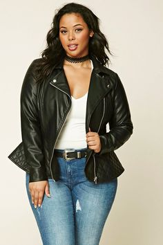 Forever 21+ - A faux leather moto jacket featuring an asymmetrical zippered front, zippered cuff sleeves, and a quilted panel on peplum hem and shoulders.