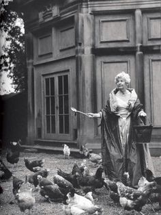 The Dowager Duchess of Devonshire, known to feed her chickens while wearing an evening gown