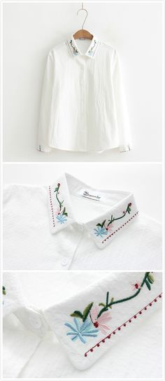 If you are looking for a cozy shirt. This floral embroidery graphic shirt you can't deny which detailed with button front, stand collar and long sleeve.