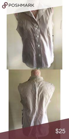NWT CALVIN KLEIN BUTTON DOWN TOP NWT Calvin Klein brown and white striped button down blouse. Sleeveless. Size 8. 100% cotton Calvin Klein Tops Button Down Shirts