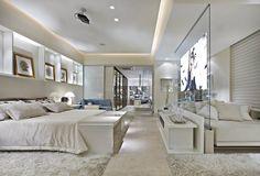 Suíte integrada ao closet decorada de azul e branca linda! Confira todos os detalhes! - Decor Salteado - Blog de Decoração e Arquitetura