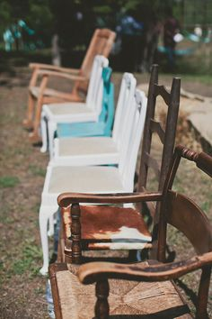 We will admit, every time we see an eclectic collection of mismatched chairs, our hearts skip a beat. We love how these chairs bring in lay. Mismatched Chairs, Old Chairs, Vintage Chairs, Recycled Wedding, Wedding Planning Inspiration, Southern Weddings, Decoration, Wedding Designs, Backyard