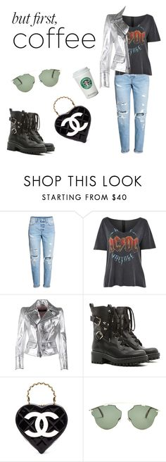 """☕️"" by paulapaulapau ❤ liked on Polyvore featuring H&M, Topshop, Dsquared2, RED Valentino, Chanel and Christian Dior"