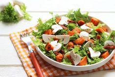 Salade frisée avec patate douce, lardons et champignons