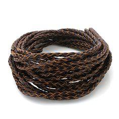Beadnova 5m 3.0mm Round Folded Bolo Genuine Braided Leather Cords For Bracelet Neckacle Brown ** CHECK OUT @ http://www.laminatepanel.com/store/beadnova-5m-3-0mm-round-folded-bolo-genuine-braided-leather-cords-for-bracelet-neckacle-brown/?b=5355