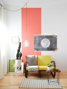 sherwin williams coral reef is the colour of 2015.  Shown here in a vertical stripe on a main wall with super cute vintage accents