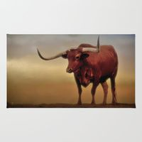 Area & Throw Rug featuring Texas Longhorn  by gypsykissphotography