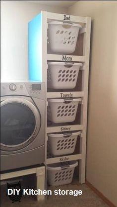 Laundry Room Organization, Laundry Room Design, Laundry Basket Storage, Laundry Area, Laundry Basket Dresser, Storage Room Organization, Kitchen Storage, Laundry Basket Holder, Laundry Room Baskets