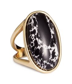 Gold-tone metal cocktail ring with large, oval, black & white stone. | H&M Accessories