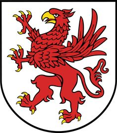 The red Griffin rampant was the coat of arms of the dukes of Pomerania and survives today as the armorial of West Pomeranian Voivodeship (historically, Farther Pomerania) in Poland.