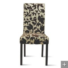 i'd like a print on the dining chairs at head and foot - maybe not this pattern, but something that will go with the other four brown leather Parson chairs