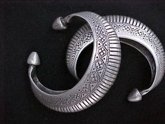 Pakistan | Old silver cuffs from Sindh |  © Tribal Heritage, via Ethnic Jewels .:!:.