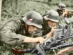 Wehrmacht soldier fire into the distance (colorization).