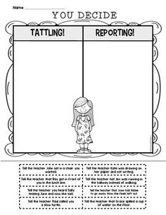how to stop tattling in kindergarten