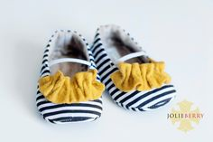 JANEY baby girl shoes.  Navy stripe with by HarperDaisy on Etsy, $27.95
