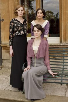 """The feisty Crawley sisters of British television series """"Downton Abbey"""" starring left (back) to right...Laura Carmichael, Jessica Brown Findlay, and Michell Dockery."""