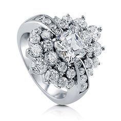 BERRICLE Rhodium Plated Sterling Silver Cubic Zirconia CZ Fashion Right Hand Cocktail Ring Size 6 * Visit the image link more details. Note:It is affiliate link to Amazon.