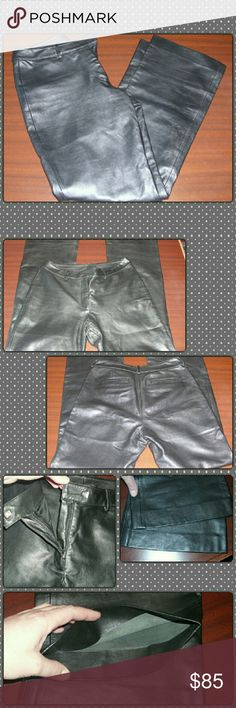 """SOFT  BLACK LEATHER PANTS!! Super soft 100% leather pants. Only imperfection is a slight discoloration of metal hook closure as pictured but does not affect the hook what so ever. Leather is in excellent condition. Only have worn once. They are a size 8. Waist is 30""""  Inseam is 29"""" they have a 10"""" rise. Super comfortable!! Feel free to ask any questions or request additional pictures! VS2 Pants"""