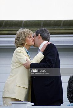 Princess Diana Kissing King Constantine Of Greece At A Polo Match In Windsor