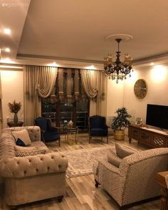 A Trabzon house with classic elegance - Diy Möbel Ideas Hogar, Classic Elegance, Living Room Decor, Ceiling Lights, Interior Design, Elegant, Furniture, Home Decor, Kitchen Cleaning