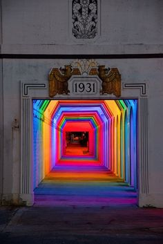 Spectacular spectrum of light in a Birmingham underpass! 'Light Rails' is a permanent LED light art installation in Birmingham, Alabama by artist Bill FitzGibbons. Instalation Art, Art Deco, Rainbow Light, Rainbow Art, Rainbow Room, Neon Rainbow, Light Rail, Neon Lighting, Lighting Design