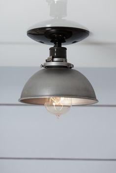 Steel Metal Dome Shade Light - Semi Flush Mount Ceiling Lighting - Industrial Light Electric - 1