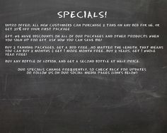 We have a couple new specials! Buy 2 tanning packages & get a 3rd one free, and buy one lotion & get a second for half price. Look forward to seeing you! As always, be sure to check our website for the latest.  http://ambiancetanespresso.com/specials1.html