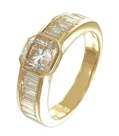 Luxurious yellow gold band set with asscher and baguette diamonds. Can be made in white gold or platinum too.