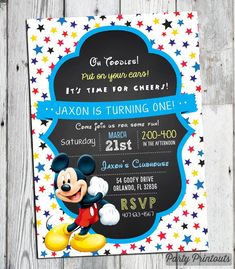 Mickey Mouse Invitations, Mickey Mouse Birthday Invitation, Mickey Birthday Invitation, Mickey Mouse 1st 2nd 3rd Birthday, Oh Toodles Invite by PartyPrintouts on Etsy