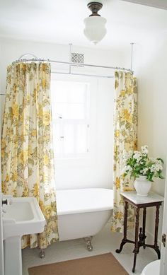 Charming Farmhouse Bathroom with Clawfoot Tub {A Country Farmhouse} - bathroom inspiration, love the yellow floral shower curtain Beautiful Bathrooms, Bathroom Inspiration, Downstairs Bathroom, House Bathroom, Home, Cottage Bathroom, Clawfoot Tub, Eclectic Home, Country Farmhouse