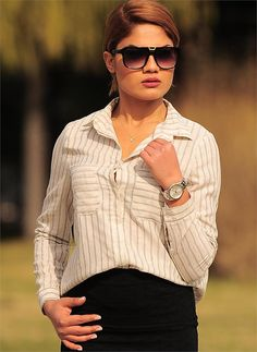 Bayan Gömlek Çizgili Krem | Modelleri ve Uygun Fiyat Avantajıyla | Modabenle