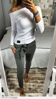 204165c7be6d Off the shoulder always looks great and those pants! They are like tight  fitting harem style - fabulous.