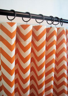 Grand Opening Sale - Ready To Ship Today - Orange and Natural Chevron Zig Zag Custom Designer Curtains Drapes- 50W x 96L