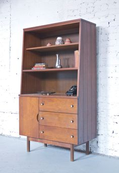 reserved mid century modern stanley petite hutch china or liquor cabinet bookcase 50s 60s retro