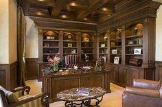 Cabinets, granite desk top, chairs.