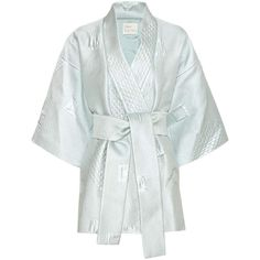 Hillier Bartley Silk-Blend Jacquard Kimono ($2,015) ❤ liked on Polyvore featuring intimates, robes, blue, hillier bartley, blue kimono, kimono robe and blue robe
