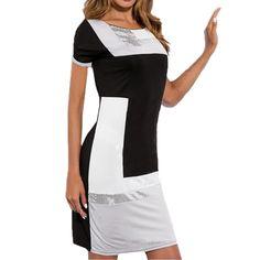 Womens Summer Patchwork Sequins O Neck Short Sleeve Cocktail Party Dress  Presents For Girlfriend 888da539f92e