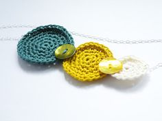 Long Sterling Silver Necklace Geometric Crochet Cotton Mustard Moss Green White Spring Summer by SteamyLab