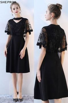 ec503aa3983 Classy Lace Cape Sleeve Short Black Formal Dress with Sleeves -  69.3   BLS86049 - SheProm.com