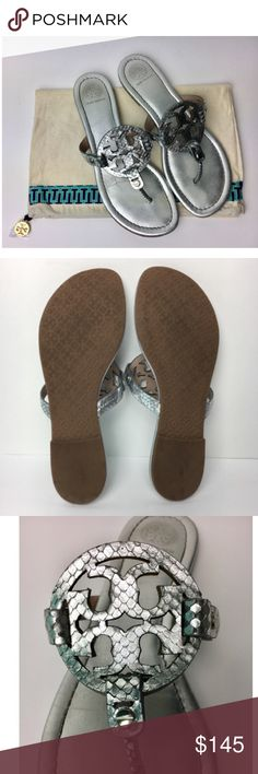 Authentic Tory Burch Miller Silver Exotic Sandals! These are authentic Tory Burch Miller Silver Sandals with exotic details. These sandals are in pre-owned condition and do show some signs of wear. This listing includes a Tory Burch dustbag. Please review all photos before purchasing. Tory Burch Shoes Sandals