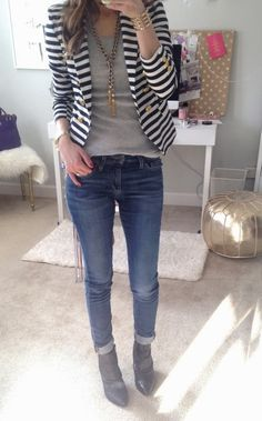 stripe blazer, skinnies, grey tee