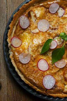 Brie and sauteed radish tart
